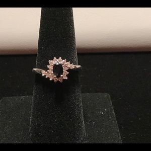 925 Silver Round Cut Black Sapphire Ring Size 7
